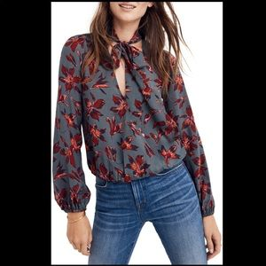 Madewell Necktie Winter Orchid Wrap Top Blouse
